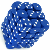 Blue & White Opaque 12mm D6 Dice Block